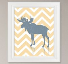 Chevron Rustic Woodland Mountain Moose Silhouette Art Print - Choose your Colors & Background / 8x10. $18.00, via Etsy.