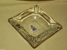WASHINGTON AND LEE UNIVERSITY VINTAGE ASHTRAY SQUARE GLASS SCHOOL CREST SHIELD