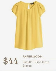 Really like the feminine cut on this top. I already have some yellow work tops so a different color would be great Fix Clothing, Clothing Styles, Clothing Ideas, Pretty Outfits, Cute Outfits, Tulip Sleeve, Stitch Fix Outfits, Stitch Fix Stylist, Work Tops