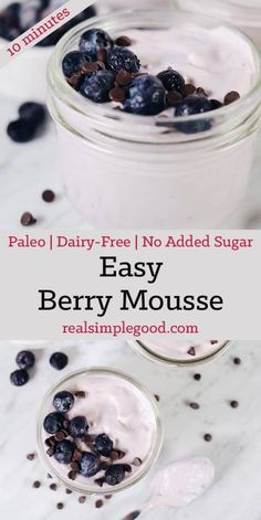 This easy berry mousse is perfect example of a sweet treat that I love that is dairy-free and has no added sugar, just the natural sugar from berries used. Primal Recipes, Dairy Free Recipes, Low Carb Recipes, Whole Food Recipes, Gluten Free, Healthy Recipes, Healthy Breakfasts, Healthy Desserts, Sweet Recipes
