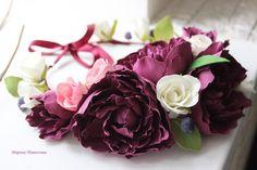 Веночек с пионами розами черникой из фоамирана