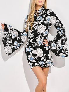 Bell Sleeve Floral Print Shift Dress