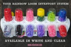 rainbow loom storage. inventory system. the perfect complement to the fish tackle box. 360 rotation. 24 cups - each cup stores multiple bags of rubber bands.