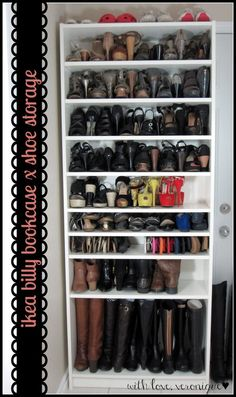 IKEA Billy Bookcase: 29 heels, 9 flats, 13 sandals, 4 ankle boots, 5 tall boots & 4 sneakers in square feet of floor space! exactly what I've been looking for - a shoe closet made out of a billy bookshelf. This is happening in my closet room! Ikea Shoe Storage, Closet Storage, Closet Organization, Boot Storage, Shoe Storage In Garage, Shoe Storage Ideas For Small Spaces, Organization Ideas, Laundry Storage, Bedroom Storage