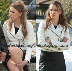 Medcezir - Mira (Serenay Sarıkaya), White Leather Jacket