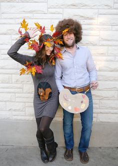 DIY adult Halloween costumes - Bob Ross and a happy little tree