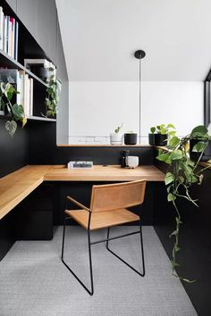 Home Office Setup, Home Office Space, Modern Office Desk, Modern Home Offices, Office Inspo, Office Spaces, Office Room Ideas, Masculine Office Decor, Modern Wood Desk