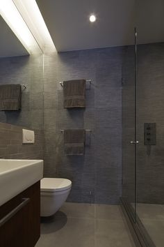 Contemporary tile master bath - Cobble Hill townhouse by Sarah Jefferys Design