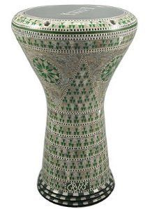 """17"""" Mother of Pearl Doumbek Drum Gawharet El Fan Darbuka by Gawharet El Fan. $249.00. This is a beautiful new 17 darbuka. Comes with a clear synthetic head and a premium case. This drum is a top quality drum with shiny shells Egyptian decorations. The Beautiful and intricate inlay of real mother of pearl and the beautiful shiny patterns, make this drum a real work of art. Covered with real mother of pearl that reflects the spectral colors with shiny shells patterns. Thi..."""