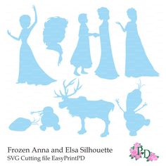 Frozen SVG, DFX cutting file Silhouette Anna, Elsa, Olaf, deer template die cut file for Silhouette Machines EasyPrintPD