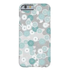 Pretty Floral Pattern in Teal, Aqua and Grey