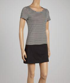 Loving this Black & White Stripe Shift Dress on #zulily! #zulilyfinds