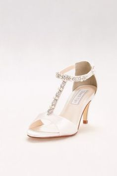 Gorgeous crystal and pearl T-straps add elegance to this dyeable satin mid-heel pair. By Touch Ups Satin upper, leather sole heel Adjustable buckle Imported Rose Gold Heels, Metallic Heels, T Strap Heels, T Strap Sandals, Bridesmaids Heels, Dyeable Shoes, Bridal Wedding Shoes, 2017 Wedding, Wedding Dresses