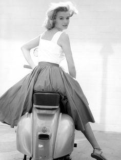Angie Dickinson on a Vespa (1962)