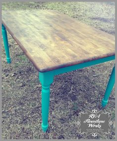 Farmhouse Table w/ turned legs {teal base + dark walnut top} #chalkpaint #teal #darkwalnut