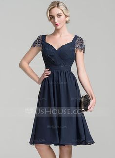 A-Line/Princess Sweetheart Knee-Length Chiffon Mother of the Bride Dress With Ruffle Beading Sequins (008091933)