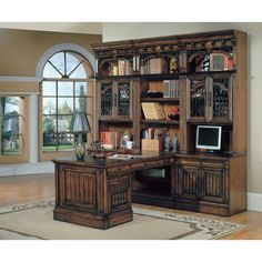 Parker House Barcelona 7 Piece Bookcase with Peninsula Desk and Rolling File - Antique Vintage Walnut | from hayneedle.com