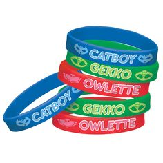 Become official members of the PJ Masks crew when you wear PJ Masks Wristbands. These rubber bracelets feature 2 each of Catboy, Owlette, and Gekko. 6th Birthday Parties, Boy Birthday, Birthday Ideas, Pjmask Party, Party Ideas, Party Time, Torta Pj Mask, Pj Masks Party Favors, Pj Mask Cupcakes