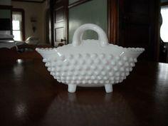 Vintage Old Fenton White Milk Glass Hobnail 2 Handled Footed Basket Unusual