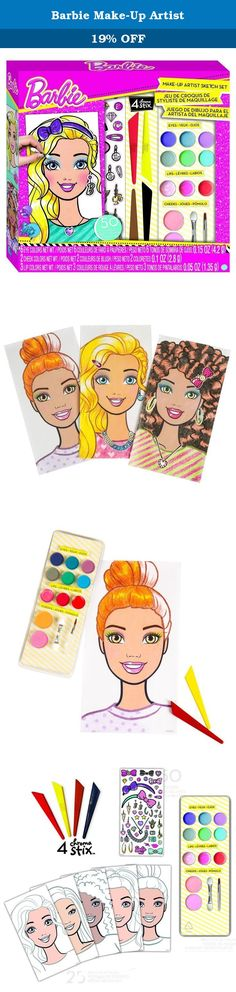 Barbie Make-Up Artist. 22280 Features: -30 Foil stickers. -25 Barbie formatted sketch sheets. -Design guide packed with professional tips and ideas. -Make-up palette containing 6 eye shadow colors, 2 cheek colors, 3 lip colors, and 2 make-up brushes. Product Type: -Drafting Supplies. Dimensions: Overall Product Weight: -0.69 Pounds. Overall Height - Top to Bottom: -11 Inches. Overall Width - Side to Side: -10.5 Inches. Overall Depth - Front to Back: -2 Inches.