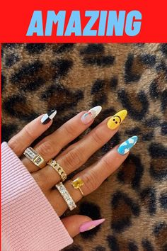 Black Acrylic Nails, Simple Acrylic Nails, Acrylic Nail Designs, Nose Jewelry, Hand Jewelry, Orange Popsicles, Biker Chick Outfit, Artsy Outfits, Fish Snacks