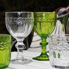 Coloured Glass Goblets and Tumblers. www.primroseandplum.co.uk