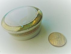 Porcelana Schmidt Brasil White Ceramic Round Trinket Box~Vintage Gold Trim Porcelain Trinket Box~Schmidt Porcelain Brazil Trinket Box
