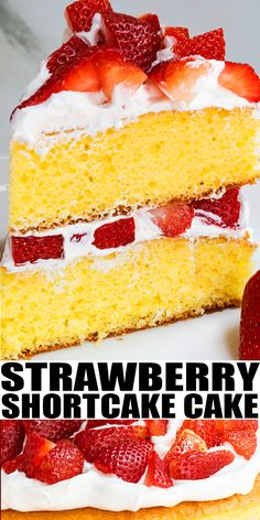 STRAWBERRY SHORTCAKE CAKE RECIPE- The best, classic, easy strawberry cake from scratch, homemade with simple ingredients. This layer cake is composed of soft and moist vanilla cake, sweet juicy fresh strawberry filling and fluffy whipped cream. A delicious Summer dessert. Great birthday cake for adults and kids with simple cake decoration. From CakeWhiz.com #cake #strawberry #birthday #dessert #summer #shortcake
