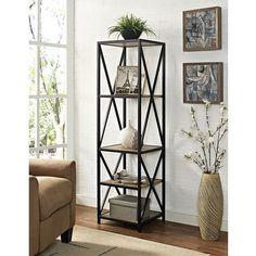 61-inch Tall X-Frame Metal and Wood Media Bookshelf