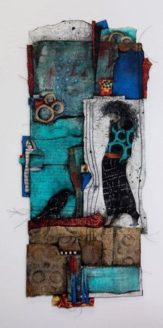 """""""The Mystic"""" (collage, mixed media, thread, image transfers, acrylics, 10×20) by Laura Lein-Svencner, honorable mention in the Cloth Paper Scissors Mixed Media Excellence Awards #abstract #art"""