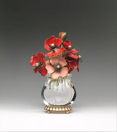 Imperial Anemones Maker: House of Carl Fabergé Date: probably 1899–1908 Culture: Russian, Saint Petersburg Medium: Gold, polychrome enamel, jade, rock crystal