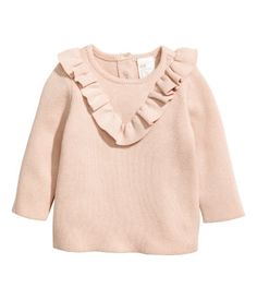 Cotton Sweater with Ruffle | Light beige | Kids | H&M US