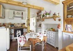 stone cottage dining area in country kitchen
