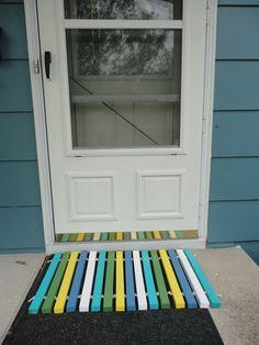 Wood Door Mat - Your Custom Colors. $20.00, via Etsy.