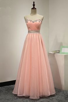 Pink chiffon strapless long beaded sweet 16 prom dress, pink customize even Peach Prom Dresses, Strapless Prom Dresses, A Line Prom Dresses, Beautiful Prom Dresses, Formal Evening Dresses, Dresses For Teens, Evening Gowns, Quince Dresses, Pink Gowns