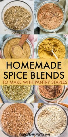 Looking for quick easy ways to perk up weeknight suppers, lunches & meal prep dishes? These 8 Homemade Spice Blends will add tons of awesome flavor to your favorite dishes! All it takes is just 5 minu Homemade Dry Mixes, Homemade Spice Blends, Homemade Spices, Homemade Seasonings, Spice Mixes, Spice Up, Snacks Saludables, Seasoning Mixes, Barbecue