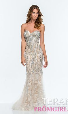 Long Strapless Beaded Lace Dress by Terani at PromGirl.com
