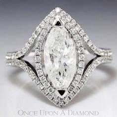 2.45ctw Marquise Diamond Double Halo Split Shank White Gold Engagement Ring