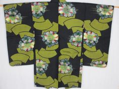 B29-Japanese-Antique-Kimono-Haori-Jacket-Meisen-Silk-Flower-Fan-Geisha-Cosplay