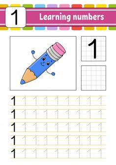 Trace And Write. Learning Numbers For Kids.