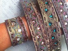 Ladies Pink Spring Pastel Leather Cuff Bracelet Boho by dgierat