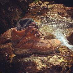 """Spotted on the Ozark Trail: Merrels Siren Sport Mids. """"Mina Sauk Falls Trail was the rockiest hiking I've found in MO. But my Merrels kept my ankles supported and feet stable the whole weekend!"""" -Outfitter, Kelly K"""