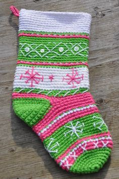 Pink and Green Crochet Christmas Stocking, Snowflake Stocking, Pink Stocking, Green Stocking, Stripe Stocking, Button Stocking on Etsy, $40.00