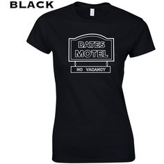 Bates Hotel Funny Scary Tv Show Movie Cult Classic Horror Slasher... ($10) ❤ liked on Polyvore featuring tops, t-shirts, black, women's clothing, cotton tee, vintage t shirts, vintage cotton t shirts, retro tees and vintage retro t shirts