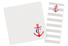Initial Anchor Notepad Set, Gray/Red