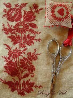 needlework in red... (OLD pattern - I could probably find one like this in mom's books)
