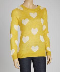 Another great find on #zulily! MAK Honey & White Heart Sweater by MAK #zulilyfinds