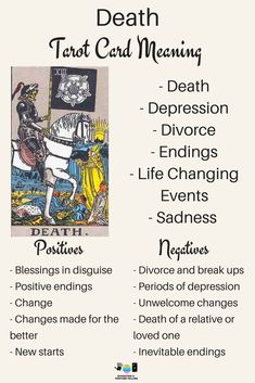 Death Tarot card meaning. An illustration from the Major Arcana with the Rider Waite Tarot deck. Post by divination and fortune-telling with Tarot for love, romance and relationships. Ideal for readers who are just learning the interpretations. What Are Tarot Cards, Tarot Significado, Tarot Cards For Beginners, Tarot Card Spreads, Tarot Astrology, Rider Waite Tarot, Tarot Major Arcana, Tarot Card Meanings, Tarot Readers
