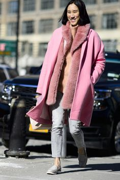 How To Overcome Coat Fatigue   Tour de STFU. Eva Chen. Pink coat. Fur scarf. Fur coat. Grey denim