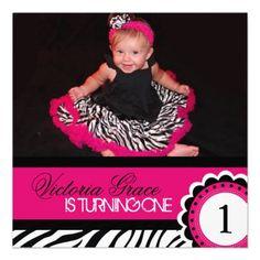 Cute Zebra Print Birthday Party Invitation.  $2.45